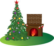 Xmas room. A warm xmas room with christmas tree stockings and fireplace Stock Images