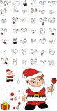 Xmas rose santa kid cartoon expression set Stock Images