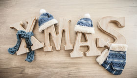 Xmas in rustic letters Royalty Free Stock Images