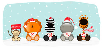 Xmas safari. Christmas theme card. Five cute wild animals wishing a merry xmas stock illustration