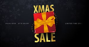 Xmas Sale banner on dark background. Vector illustration. Royalty Free Stock Photos