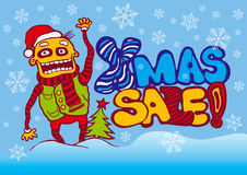 Xmas sale banner with funny boy and xmas tree Royalty Free Stock Photos