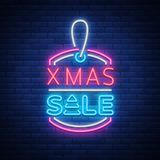 Xmas sale, christmas discount poster, flyer card in neon style. New year discount neon design text. Festive winter sale Stock Photos
