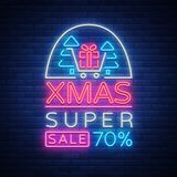 Xmas sale, christmas discount poster, flyer card in neon style. New year discount neon design text. Festive winter sale Royalty Free Stock Photo