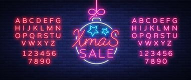 Xmas sale, christmas discount poster, flyer card in neon style. New year discount neon design text. Festive winter sale Stock Photography