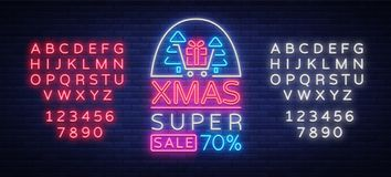 Xmas sale, christmas discount poster, flyer card in neon style. New year discount neon design text. Festive winter sale Royalty Free Stock Images
