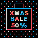 Xmas sale. Christmas sale lettering design. With lamps. Vector illustration Stock Photography