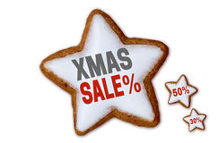 XMAS Sale cinnamon star white isolated concept Royalty Free Stock Photography