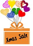 XMAS SALE on gift box with multicoloured hearts. Illustration concept Royalty Free Stock Photo