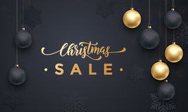 Xmas Sale golden frame poster with gold balls decoration ornaments Royalty Free Stock Photos