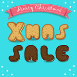 Xmas sale. Merry Christmas. Cookies font stock image