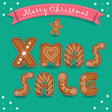 Xmas sale. Merry Christmas. Gingerbreads font royalty free stock images