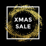Xmas Sale poster golden glitter Christmas wreath decoration frame. Xmas Sale gold glittering wreath decoration on background with frame. Premium golden text Stock Photography
