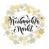 Xmas Sale poster golden glitter Christmas wreath decoration frame Royalty Free Stock Photo