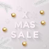 Xmas Sale poster of snowflakes pattern and golden balls. Luxury Christmas Sale background with golden balls, snowflakes pattern and pine fir tree branches Stock Image