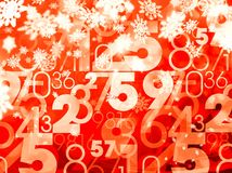 Xmas sale random numbers red background Royalty Free Stock Photography