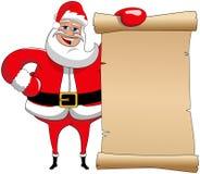 Xmas Santa Claus Banner Parchment  Stock Images