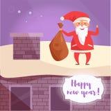 Xmas Santa Claus med en påse av gåvor är på takvektorn cartoon stock illustrationer