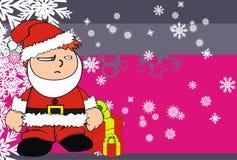 Xmas santa kid cartoon expression postal Royalty Free Stock Images