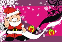 Xmas santa kid cartoon expression postal Stock Photography
