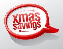 Xmas savings mowy bąbla symbol, zima wakacje sprzedaży znak royalty ilustracja