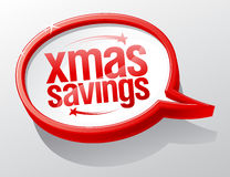 Xmas savings speech bubble symbol, winter holiday sale sign Stock Photography