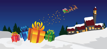 Xmas scene. With gifts and Santa Claus Royalty Free Stock Image