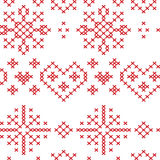Xmas seamless Nordic  pattern with stars snowflakes hearts Stock Photos