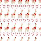 Xmas seamless pattern with cute lama with xmas hat and candy cane hearts on white background. Stock Images