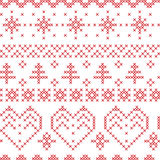 Xmas seamless  pattern inspired by nordic stitching  cross patterns Stock Photos