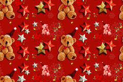 Xmas Seamless Pattern Teddy Bears Royalty Free Stock Photos