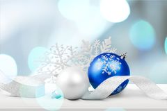 Xmas. Seasonal blue background white natale decor stock photo