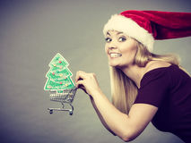 Santa woman holding shopping cart with christmas gifts Stock Image