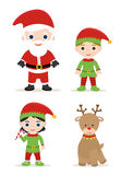 Xmas set. Cute xmas set, santa, elves and deer Stock Photography