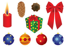 Xmas set. Set of vector illustrations - christmas decor and symbols royalty free illustration