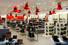 Xmas shoes shop. VILNIUS, LITHUANIA - DECEMBER 21: Christmas  Reiker and Tamaris shoes shop  in the Panorama shopping centre in Vilnius on December 21, 2013 Stock Images