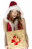Xmas shoot of pretty girl with gift Stock Photos