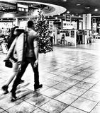 Xmas shopping. Artistic look in black and white. Royalty Free Stock Images