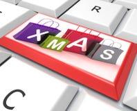Xmas Shopping Bags Key Show Retail Stores Or Buying. AiXmas Shopping Bags Key Show Retail Stores Or B Stock Photo