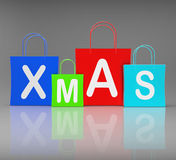 Xmas Shopping Bags Show Retail and Buying Royalty Free Stock Images