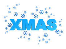 Xmas sign. Abstract 3d illustration of xmas sign with blue snowflakes, over white background Royalty Free Stock Images