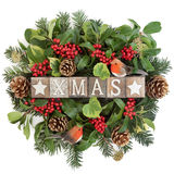 Xmas Sign and Winter Flora Royalty Free Stock Images