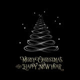 Xmas silver typography vintage and tree style design Stock Image