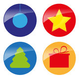 Xmas simple glossy color icons  Royalty Free Stock Image