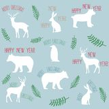 Slogans merry christmas happy new year with flat animals Stock Image