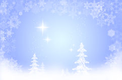 Xmas snow scene. Illustration of snowflakes and trees Royalty Free Stock Photo