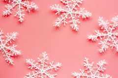 Xmas snowflake ornaments and decoration on pink background. For Christmas day and holidays concept stock illustration