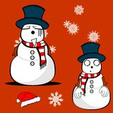Xmas snowman cartoon expression set Royalty Free Stock Photography