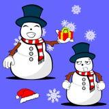 Xmas snowman cartoon expression set2 Royalty Free Stock Image