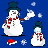 Xmas snowman cartoon expression set5 Royalty Free Stock Photo